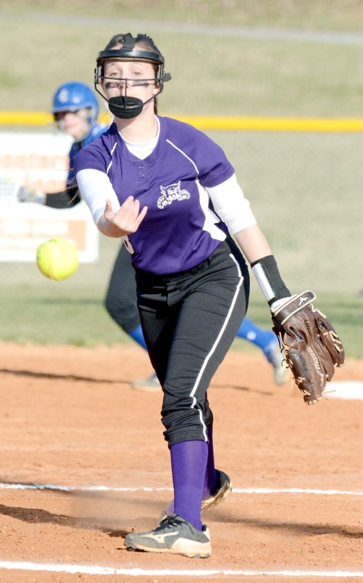 Monterey's Brooklyn Goss delivers a pitch during the Lady Wildcats' 10-3 loss to Jackson County on Thursday at MHS.