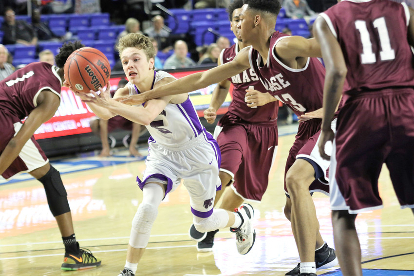 Monterey's Peyton West, left, fights for a loose ball on Thursday during quarterfinal action of the TSSAA Boys' Class A BlueCross Basketball Championships against MASE at MTSU's Murphy Center.