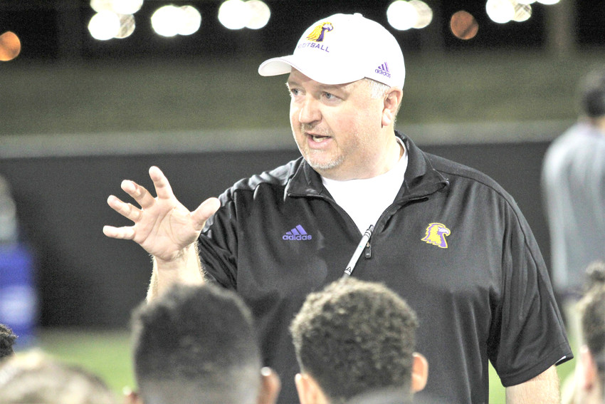 Tennessee Tech head coach Dewayne Alexander talks to his players after TTU's spring game Friday night at Tech.