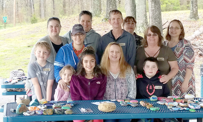 Members of Kindness Rocks in Cookeville include: in front, from left, Britton Roberts, Mana Buttram, Jazz Buttram, Tonya Hope and Porter Caruthers. In back Jamie Dick, Blossom Buttram, Alicia Roberts, Michael Stuckey, Debra Welchel, Pam Caruthers and Laurie Marshall.