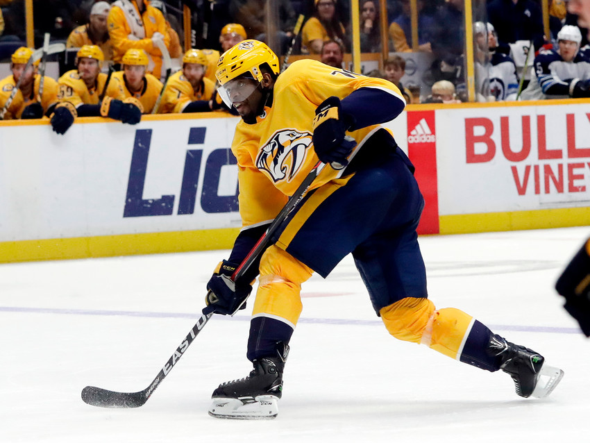 FILE - In this Dec. 19, 2017, file photo, Nashville Predators defenseman P.K. Subban shoots and scores a goal against the Winnipeg Jets in the second period of an NHL hockey game in Nashville, Tenn. The Predators take on the Jets in the Western Conference semifinals beginning Friday, April 27, at Nashville. (AP Photo/Mark Humphrey, File)