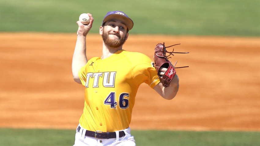 Marcus Evey fires to the plate during a solid outing for the Golden Eagles.