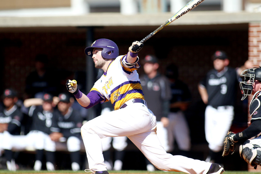 Tennessee Tech's Trevor Putzig watches the ball he hit during a game earlier this week. Putzig came up big for the Golden Eagles this weekend as Tech picked up three wins against Ohio Valley Conference foe Belmont University, including a 10-0 victory on Sunday.