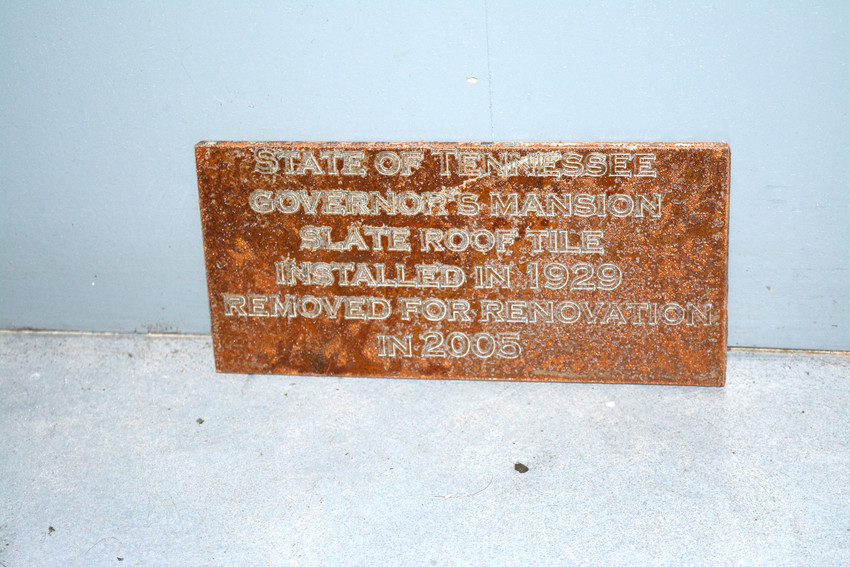 The bartop of made of slate roof tile from the Governor's Mansion in Nashville, a find credited to Dry Levee Salvage.