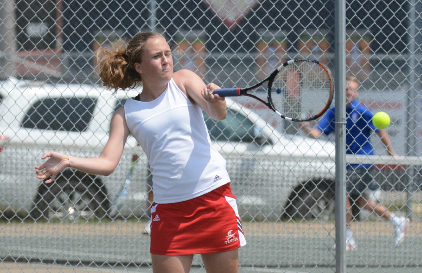 Cookeville's Katie Ward returns a shot during Monday's regional tennis championships.