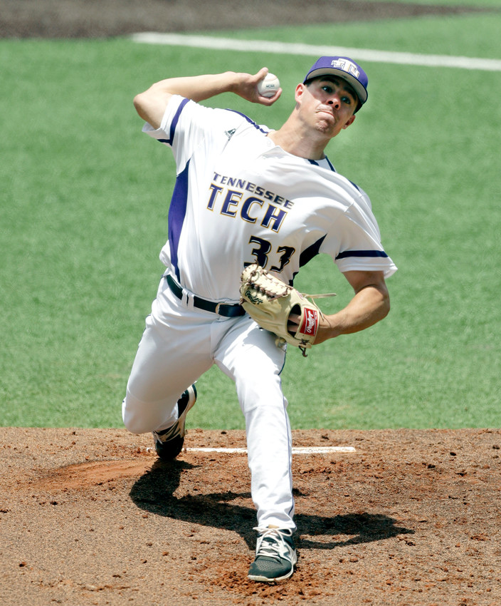 Tennessee Tech pitcher Travis Moths (33) delivers a pitch against Texas in the second inning of an NCAA college super regional baseball game Sunday in Austin, Texas. (AP Photo/Eric Gay)