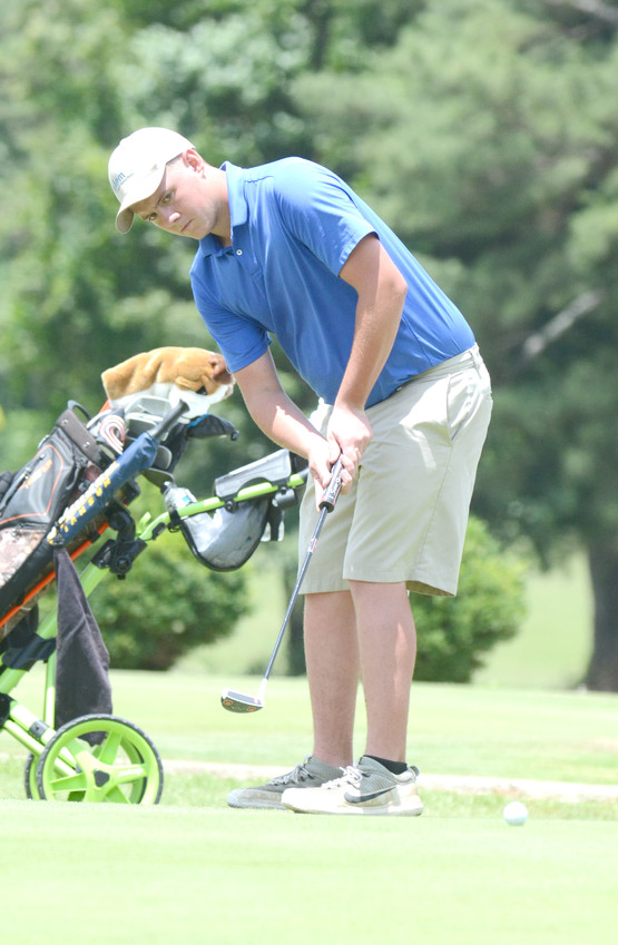 Cookeville's Matther Harris putts during the second round of a Tennessee Junior PGA Championship qualifier at the Golden Eagle Golf Club on Tuesday.