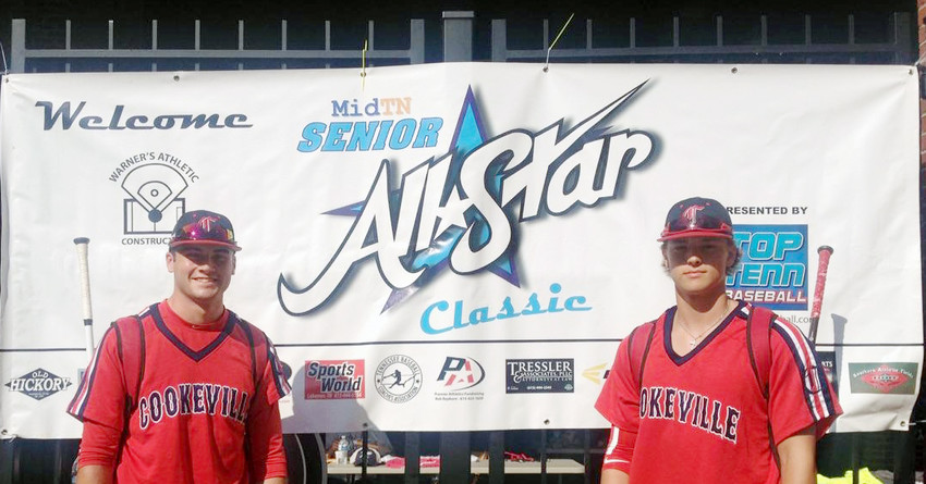 Cookeville's Josh South, left, and Ben Baugh posed last Thursday before participating in the Middle Tennessee Senior All-Star Classic at Vanderbilt University's Hawkins Field.