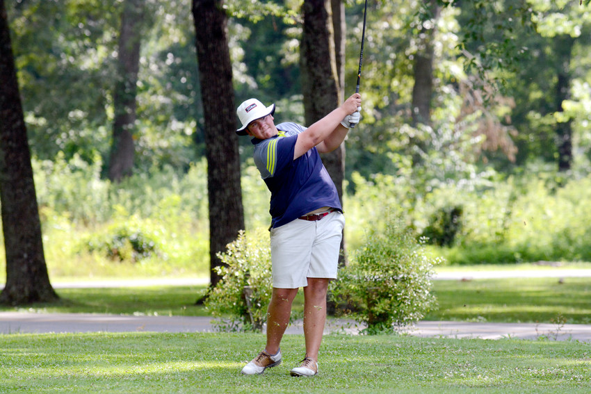 Cookeville's Jared Funderburk watches his drive during the Cookeville City Amateur on Sunday at the Golden Eagle Golf Club.