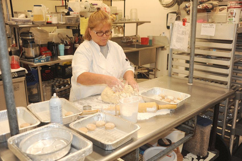 Tammy Hobbs preparing dough for some of the baked goods offered by Grade A Catering in Cookeville.