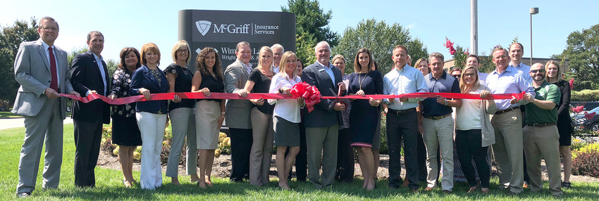 McGriff Insurance Services, formerly BB&T Legge Insurance, held a ribbon cutting last month. In front, from left, are Randy Porter, Putnam County Executive; Marty Maynard, Putnam County Chamber Chairman; Karen Franks; Constance Key; Laura Canada; Ashley Hull; Steve Leddy; Sarah Bacle;  Amy Dillion; Chuck Sparks; Nicole Ziegler; Kevin Bost; David Legge; Ashlyn Hall, Chamber Ambassador; Jim Smith; Brandon Parrish, Chamber Ambassador; back row, Mark Forrester; Debra Smith;  Camille Walker;  Ellen Miller;  Leslie Loftis, Chamber Ambassador;  April Calvete;  Janice Gentry;  Kelton Goodman;  Ian Robson, Chamber Ambassador; and Jennifer Wheeler, Chamber Membership Coordinator.