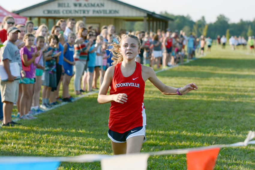 Cookeville's Landri Wilcox pushes to the finish line during a recent cross country meet. Wilcox and the CHS runners competed in the Cherokee Classic Saturday in Knoxville.