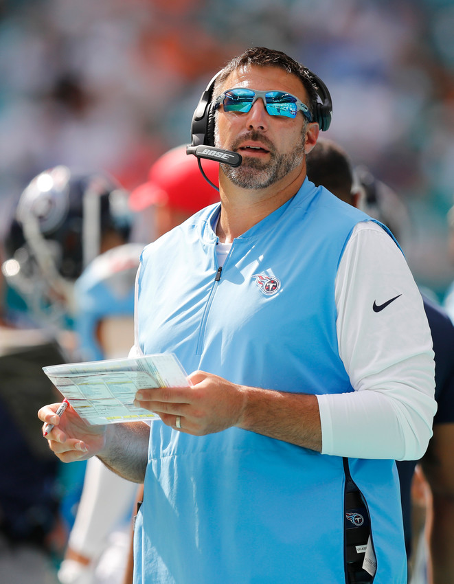 Tennessee Titans head coach Mike Vrabel looks up during the second half of a game against the Miami Dolphins, Sunday, in Miami Gardens, Fla.