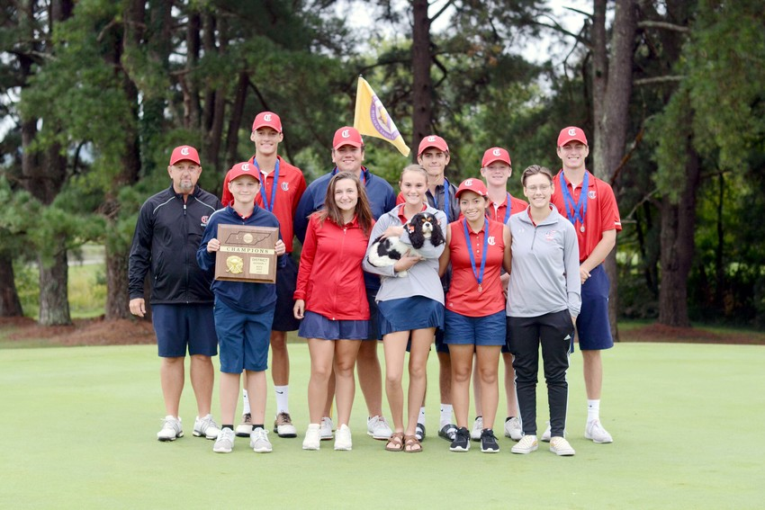 The Cookeville High School Cavaliers and Lady Cavaliers qualified for next week's regional golf tournament by faring well Monday in the district tournament at Golden Eagle Golf Club. The team includes, front row, from left: coach Larry Pitts, Seth Clayton, Savannah Pearson, Ashlyn Fajt, Hope Homar, Iris Blalock; back row: Bryce Turnbow, Jared Funderburk, Ethan Vanstratum, Luke Caldwell and Will Dycus. The CHS boys won the district team title, while the girls finished third. The White County girls and boys finished first and third, respectively, and will also compete in the regional tournament.
