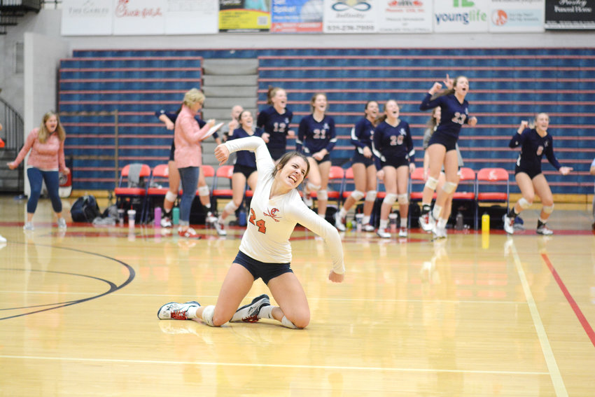 Cookeville's Brianna Bungart celebrates a point in the fifth set of the Region 3-AAA Championship Tuesday night at CHS.