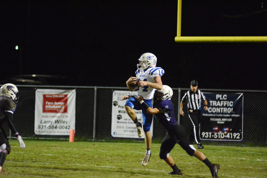 Monterey's Paxton Payne, right, tackles a Gordonsville receiver during the Wildcats' 29-27 loss to the Tigers at the end of September at MHS