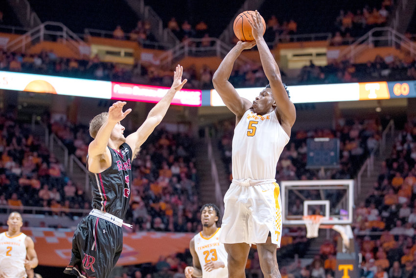 Forward Admiral Schofield #5 of the Tennessee Volunteers shoots during the game between the Lenoir-Rhyne Bears and the Tennessee Volunteers at Thompson-Boling Arena in Knoxville.
