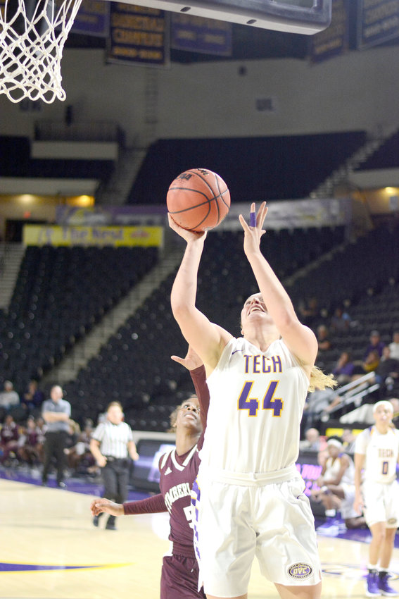 Tennessee Tech Lacy Cantrell goes up strong in the Golden Eagles' victory over Cumberland University Tuesday night.