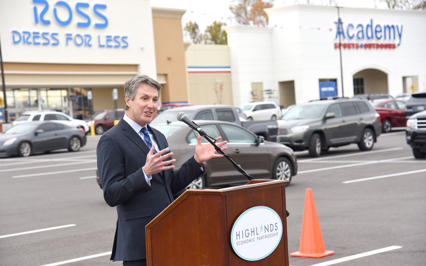 "David Neuhoff, vice president of development for CBL, speaking at the Shoppes at Eagle Point grand opening Wednesday. Neuhoff noted the shopping center is a ""favored destination in the market."""