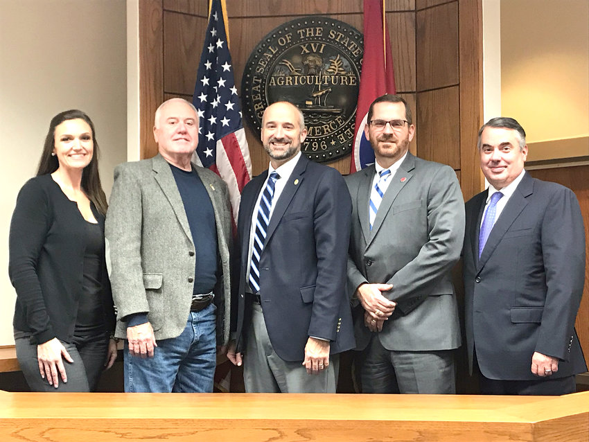 Members of the 13th Judicial District's Veterans Treatment Court, are, from left, director Julie Chambers, mentor Larry Redwine of Disabled American Veterans, Judge Gary McKenzie, District Attorney Bryant Dunaway and Public Defender Craig Fickling.