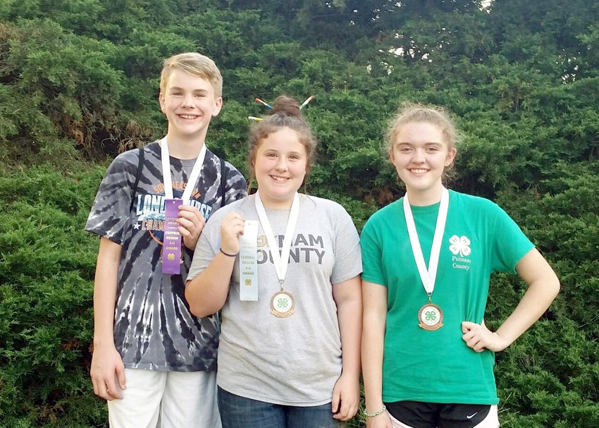 The junior high land judging team placed third in the region contest. Team members were  from left, Jackson Huff, Cadence Howell and Britta Gaetjens.