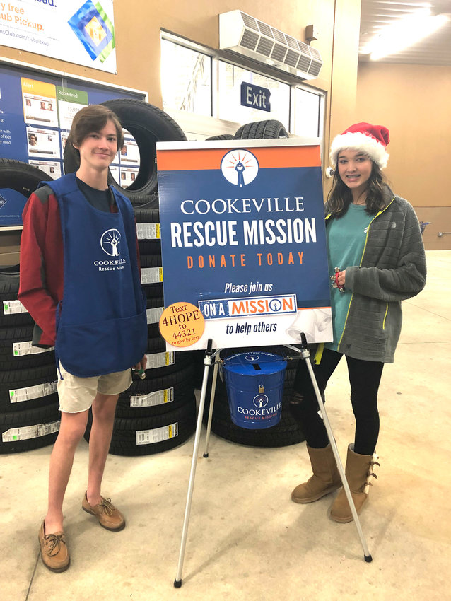 Harrison and Caroline Ing collect money for the Cookeville Rescue Mission outside Sam's Club Wednesday. The rescue mission is still seeking hundreds of volunteers to collect funds for the homeless in their largest annual fundraiser. To help, visit https://soundofhope.cookevillerescuemission.org/.
