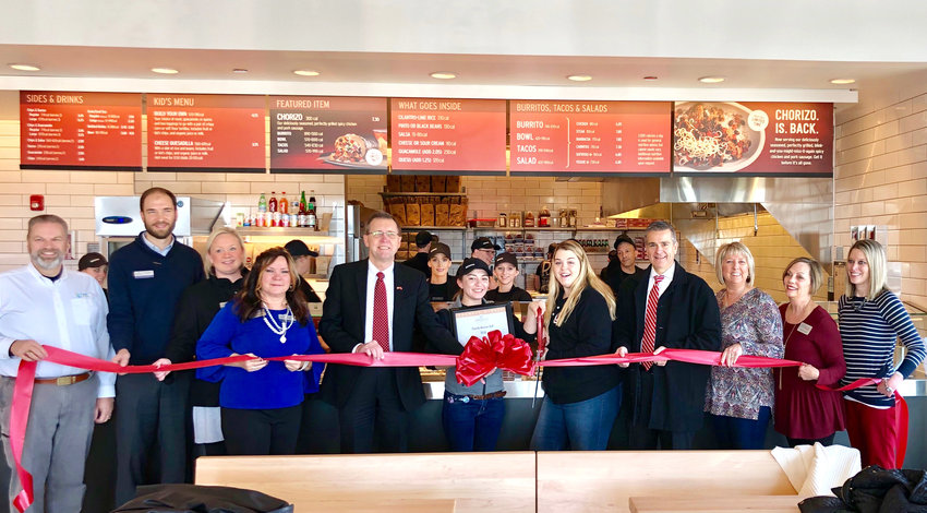 Chipotle in the Shoppes at Eagle Point held its grand opening on Wednesday. From left, David Price, Twin Lakes, Ian Robson, chamber ambassador, Leslie Loftis, chamber ambassador, Sue Swearengen, Chamber Ambassador, Randy Porter, Putnam County executive, Samantha Murillo, manager, Baylee Ridge, apprentice, Ricky Shelton, Cookeville mayor, Kathy Dunn, chamber ambassador, Toni Evans, chamber ambassador and Jennifer Wheeler, Chamber membership services coordinator.