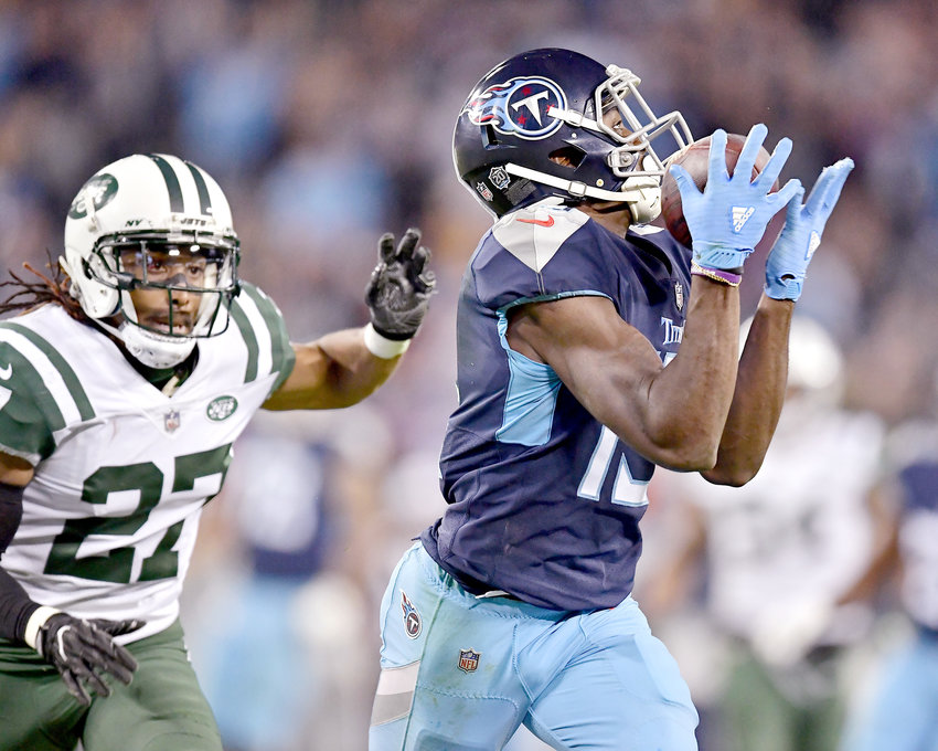 Tennessee Titans wide receiver Taywan Taylor (13) makes a big catch in the fourth quarter of an NFL football game against the New York Jets on Sunday, Dec. 2, 2018, at Nissan Stadium in Nashville, Tenn. The Titans win 26-22. (Photo by Lee Walls)
