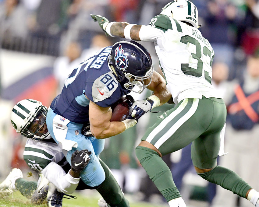 Tennessee Titans tight end Anthony Firkser (86) adds yards after the reception during the fourth quarter of an NFL football game against the New York Jets on Sunday, Dec. 2, 2018, at Nissan Stadium in Nashville, Tenn. The Titans win 26-22. (Photo by Lee Walls)
