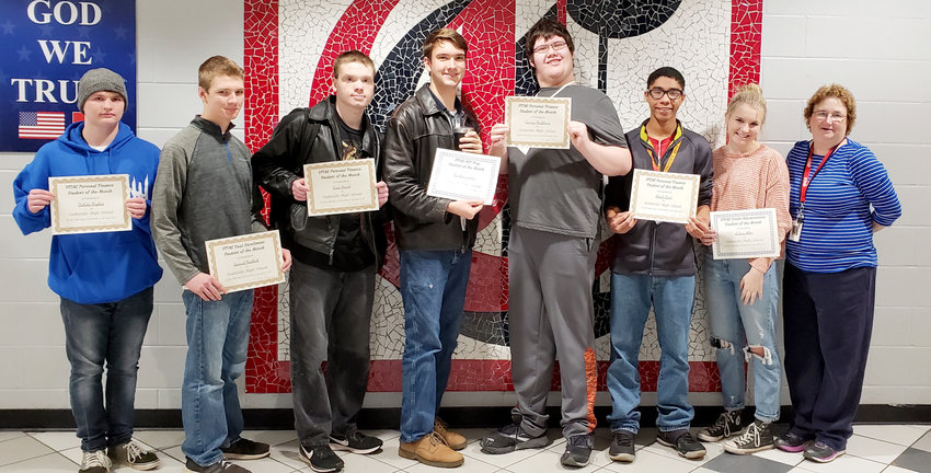 Cookeville High School has chosen the following students as VITAL Students of the Month for the month of November.  They are, from left to right, Dakota Hughes (Personal Finance), Samuel Hadlock (Dual Enrollment Vol State English 1010), Jesse Heard (Personal Finance and Biology Credit Recovery), Matthew Stokes (ACT Prep), Connor Matthews (Personal Finance), Elijah Reed (Personal Finance), Aubrey Allen (Economics Honors and Lifetime Wellness), and Dr. Joann Shriner (VITAL Onsite Facilitator).  Not pictured is Hannah Swann (Personal Finance).
