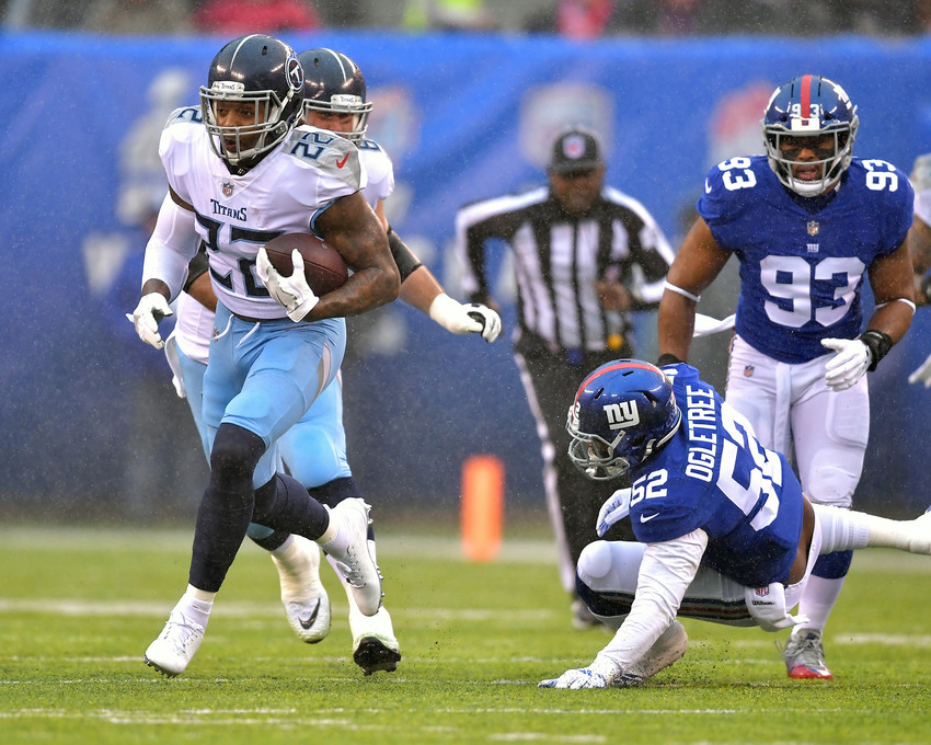 Tennessee Titans running back Derrick Henry (22) with a carry for a first down early in the first quarter of the NFL football game against the New York Giants, Sunday, Dec. 16, 2018, at MetLife Stadium in East Rutherford, N.J. The Titans win 17-0. (Photo by Lee Walls)