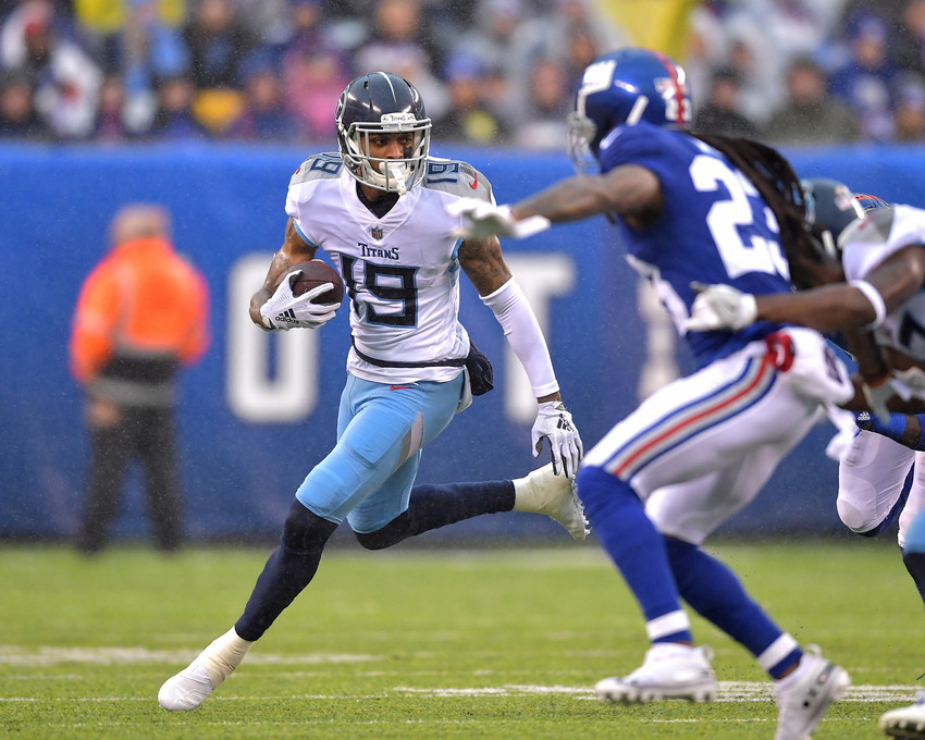 Tennessee Titans wide receiver Tajae Sharpe (19) adds yards after the reception during the first half of the New York Giants versus Titans NFL football game, Sunday, Dec. 16, 2018, at MetLife Stadium in East Rutherford, N.J. The Titans win 17-0. (Photo by Lee Walls)
