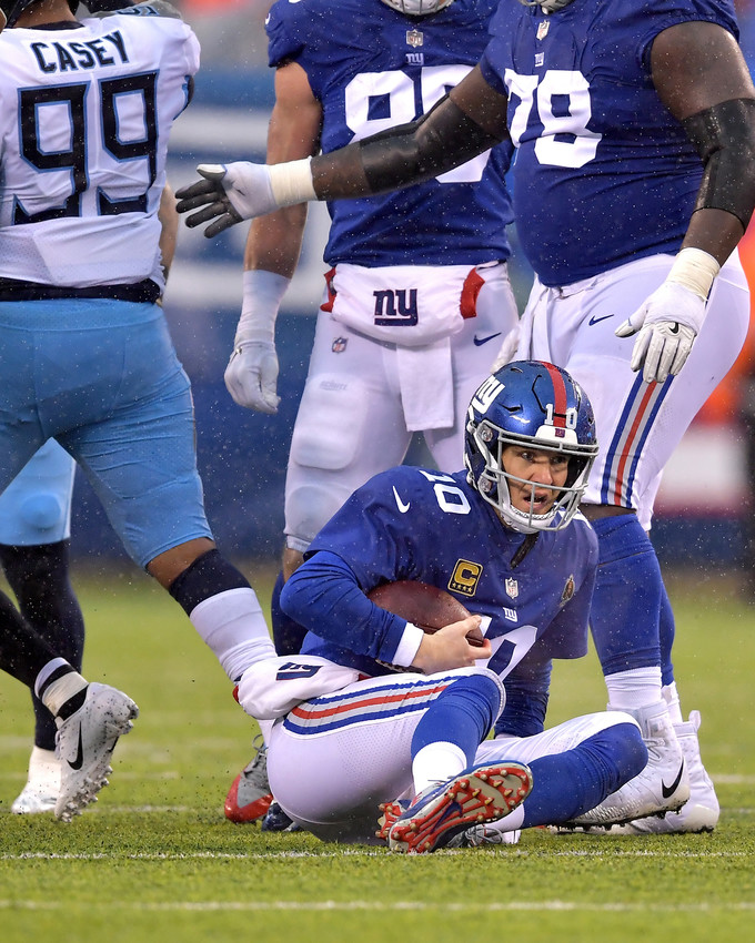 New York Giants quarterback Eli Manning (10) gets sacked during the first half of the Giants versus Tennessee Titans NFL football game, Sunday, Dec. 16, 2018, at MetLife Stadium in East Rutherford, N.J. The Titans win 17-0. (Photo by Lee Walls)