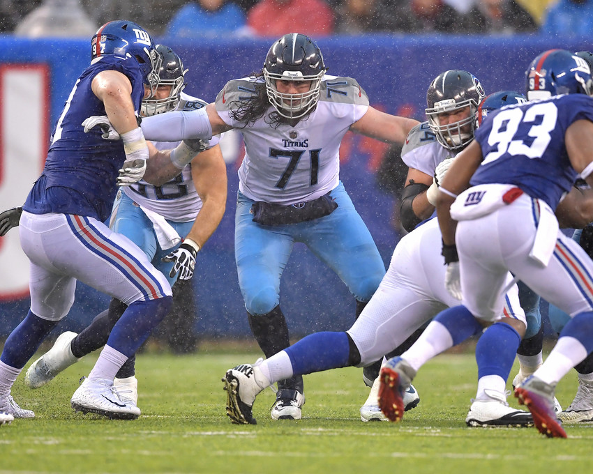 Tennessee Titans offensive tackle Dennis Kelly (71) in action during the first half of the New York Giants versus Titans NFL football game, Sunday, Dec. 16, 2018, at MetLife Stadium in East Rutherford, N.J. The Titans win 17-0. (Photo by Lee Walls)