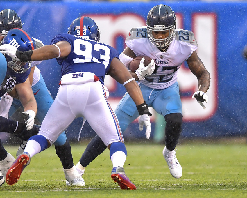 Tennessee Titans running back Derrick Henry (22) tries to get around the edge during the first half of the New York Giants versus Titans NFL football game, Sunday, Dec. 16, 2018, at MetLife Stadium in East Rutherford, N.J. The Titans win 17-0. (Photo by Lee Walls)