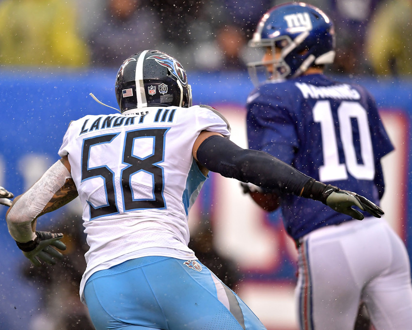 Tennessee Titans linebacker Harold Landry (58) puts pressure on New York Giants quarterback Eli Manning (10) during the second half of an NFL football game, Sunday, Dec. 16, 2018, at MetLife Stadium in East Rutherford, N.J. The Titans win 17-0. (Photo by Lee Walls)