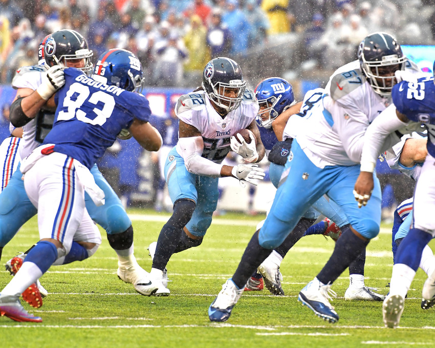 Tennessee Titans running back Derrick Henry (22) up the middle during the second half of the New York Giants versus Titans NFL football game, Sunday, Dec. 16, 2018, at MetLife Stadium in East Rutherford, N.J. The Titans win 17-0. (Photo by Lee Walls)