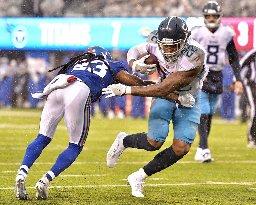 Tennessee Titans running back Derrick Henry (22) on his way to a touchdown in the second half of the New York Giants versus Titans NFL football game, Sunday, Dec. 16, 2018, at MetLife Stadium in East Rutherford, N.J. The Titans win 17-0. (Photo by Lee Walls)