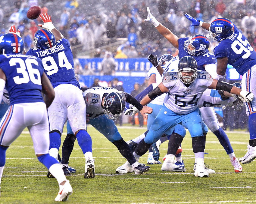 From the second half of the New York Giants versus Tennessee Titans NFL football game, Sunday, Dec. 16, 2018, at MetLife Stadium in East Rutherford, N.J. The Titans win 17-0. (Photo by Lee Walls)