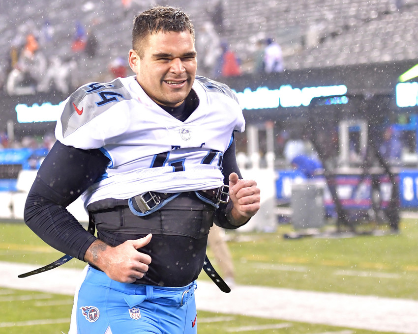 Tennessee Titans outside linebacker Kamalei Correa (44) leaves the field following the New York Giants versus Titans NFL football game, Sunday, Dec. 16, 2018, at MetLife Stadium in East Rutherford, N.J. The Titans win 17-0. (Photo by Lee Walls)