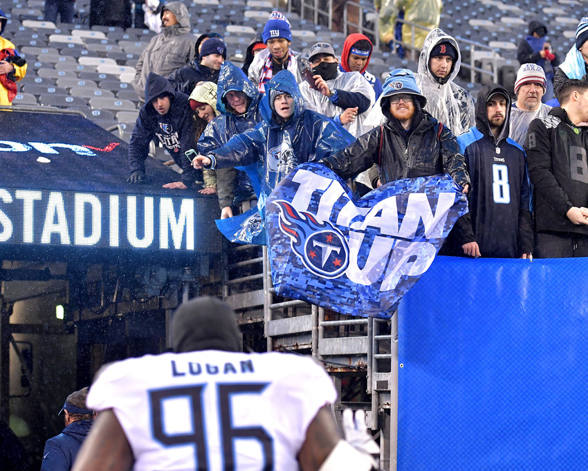 Tennessee Titans defensive end Jurrell Casey (99) leaves the field following the New York Giants versus Titans NFL football game, Sunday, Dec. 16, 2018, at MetLife Stadium in East Rutherford, N.J. The Titans win 17-0. (Photo by Lee Walls)