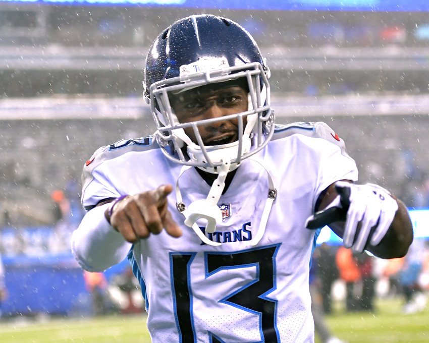 Tennessee Titans wide receiver Taywan Taylor (13) celebrates as he leaves the field following the New York Giants versus Titans NFL football game, Sunday, Dec. 16, 2018, at MetLife Stadium in East Rutherford, N.J. The Titans win 17-0. (Photo by Lee Walls)
