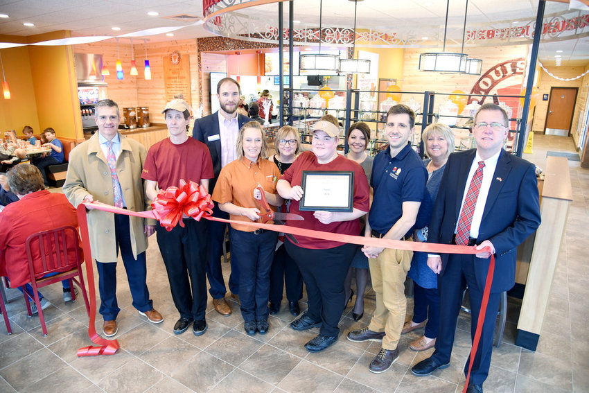At the recent ribbon cutting for Popeyes restaurant here are, from left, Mayor Ricky Shelton; Ralph Olds, assistant manager in Training; Ian Robson, Chamber Ambassador; April Ball, general manager; Dianne Callahan, Chamber VP Organizational Development; Sasha Tafralian, Assistant Manager in Training; Amy Grissom, Chamber Ambassador; Nathan Chiantella, Director of Business Operations; Kathy Dunn, Chamber Ambassador; and Putnam County Executive Randy Porter.