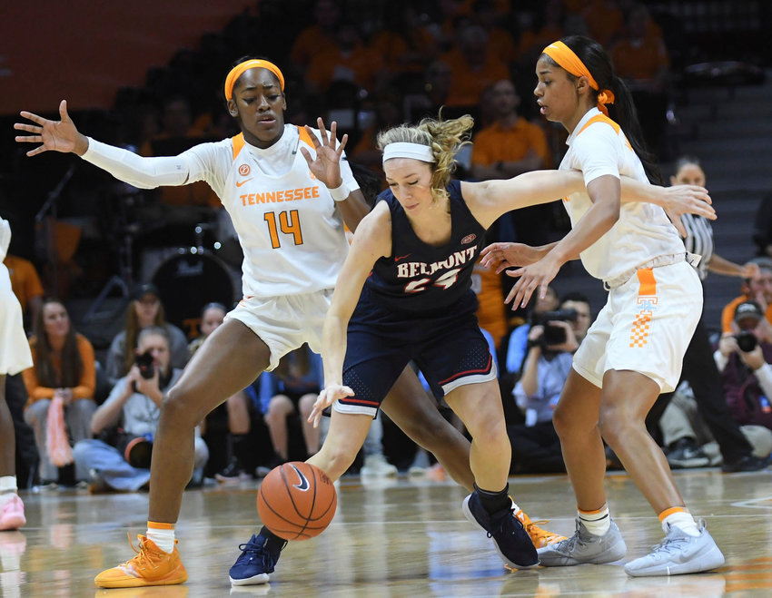 Tennessee guards Zaay Green (14) and Evina Westbrook (2) double-team Belmont guard Jenny Roy (24) during the first quarter of an NCAA college basketball game in Knoxville, Tenn., Sunday, Dec. 30, 2018. ( Joy Kimbrough/The Daily Times via AP)