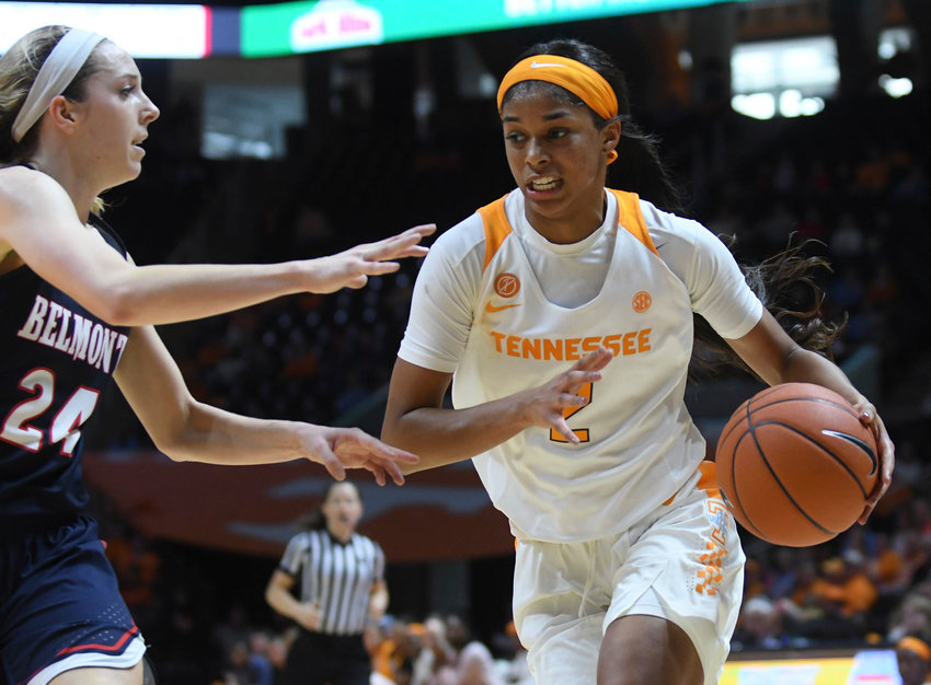 Tennessee guard Evina Westbrook (2) drives the ball to the paint during the second quarter of an NCAA college basketball game against Belmontin Knoxville, Tenn., Sunday, Dec. 30, 2018. ( Joy Kimbrough/The Daily Times via AP)