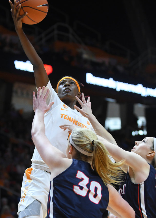 Tennessee guard/forward Rennia Davis (0) goes for a layup against Belmont during the first quarter of an NCAA college basketball game in Knoxville, Tenn., Sunday, Dec. 30, 2018. ( Joy Kimbrough/The Daily Times via AP)