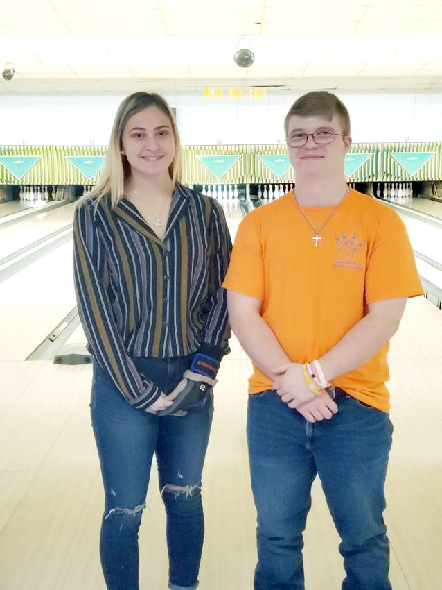 Upperman High School's Kelci Young, left, and Shawn Cooper are gearing up to compete in the Tennessee State High School Bowling Championships Thursday in Smyrna.