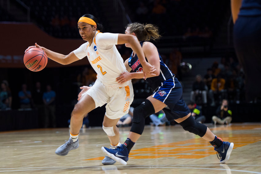 FILE - In this March 16, 2018, file photo, Tennessee's Evina Westbrook (2) drives toward the basket during the women's NCAA Tournament first round game against Liberty in Knoxville, Tenn. The 20th-ranked Tennessee Lady Volunteers have lost three straight games for the first time since February 1986. That three-game skid includes Tennessee's first back-to-back home losses since 2007. (Caitie McMekin/Knoxville News Sentinel via AP)