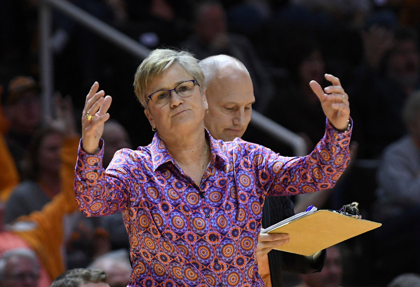 FILE - In this Thursday, Jan. 10, 2019, file photo, Tennessee coach Holly Warlick reacts to a call during an NCAA college basketball game against Kentucky in Knoxville, Tenn. Kentucky won 73-71. The 20th-ranked Tennessee Lady Volunteers have lost three straight games for the first time since February 1986. That three-game skid includes Tennessee's first back-to-back home losses since 2007. (Joy Kimbrough/The Daily Times via AP, File)