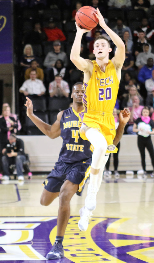Tennessee Tech redshirt freshman Hunter Vick, seen above shooting during the Golden Eagles' recent game with Murray State, scored 15 points Saturday to lead Tech in scoring in a 77-58 loss at UTM.